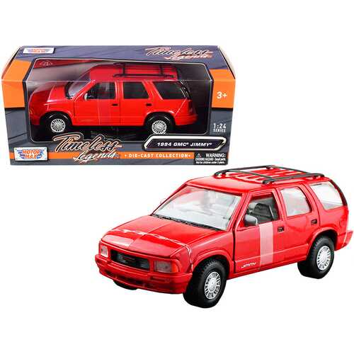 "1994 GMC Jimmy with Roof Rack Red ""Timeless Legends"" Series 1/24 Diecast Model Car by Motormax"