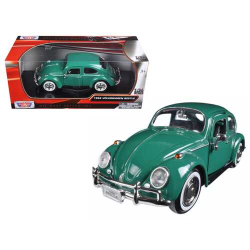 1966 Volkswagen Beetle Green 1/24 Diecast Model Car by Motormax