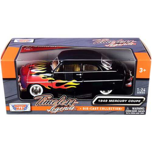 """1949 Mercury Coupe Black with Flames """"Timeless Legends"""" Series 1/24 Diecast Model Car by Motormax"""