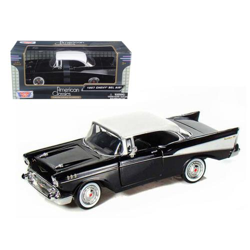 1957 Chevrolet Bel Air Black 1/24 Diecast Car Model by Motormax