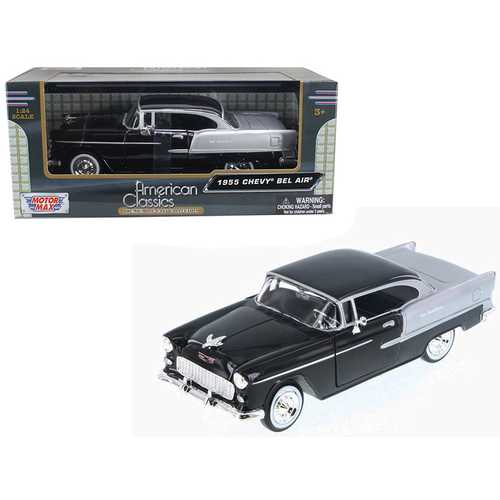 1955 Chevrolet Bel Air Black and Silver 1/24 Diecast Model Car by Motormax