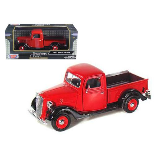 1937 Ford Pickup Truck Red 1/24 Diecast Car Model by Motormax