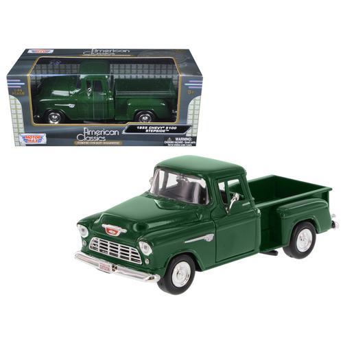 1955 Chevrolet 5100 Stepside Pickup Truck Green 1/24 Diecast Model Car by Motormax