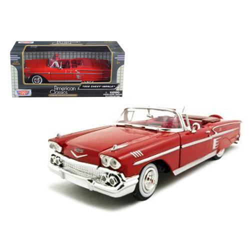 1958 Chevrolet Impala Red 1/24 Diecast Model Car by Motormax