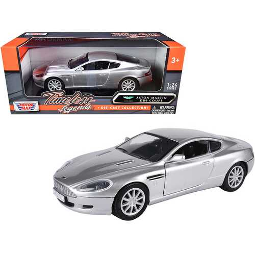 """Aston Martin DB9 Coupe Silver Metallic """"Timeless Legends"""" 1/24 Diecast Model Car by Motormax"""
