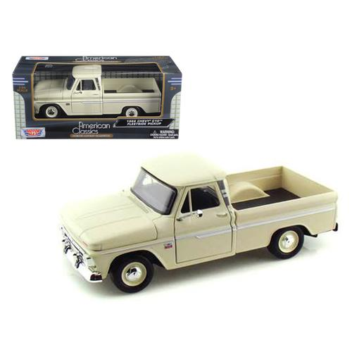 1966 Chevrolet C10 Fleetside Pickup Cream 1/24 Diecast Car Model by Motormax