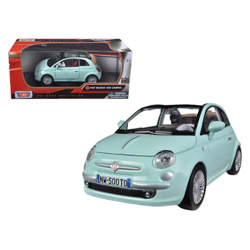 Fiat 500 Nuova Cabrio Green 1/24 Diecast Model Car by Motormax