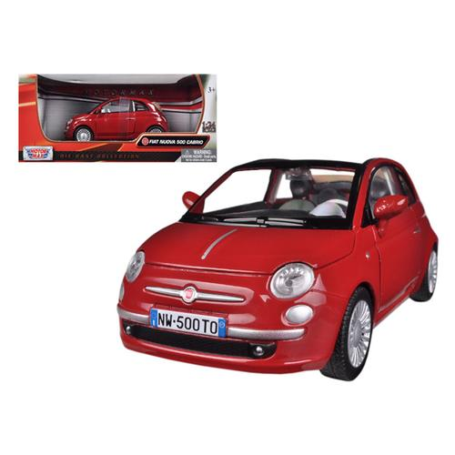 Fiat 500 Nuova Cabrio Red 1/24 Diecast Model Car by Motormax