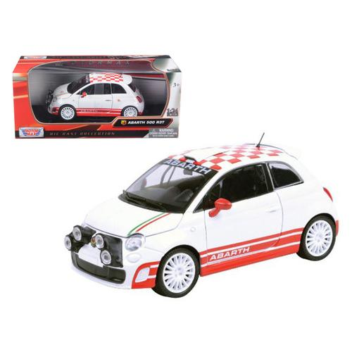 Fiat Abarth 500 R3T White 1/24 Diecast Car Model by Motormax