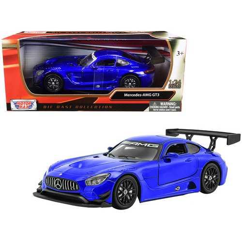 Mercedes AMG GT3 Bright Blue 1/24 Diecast Model Car by Motormax