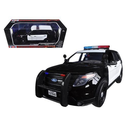 2015 Ford PI Utility Interceptor Black & White Police Car with Light Bar 1/18 Diecast Car Model by Motormax