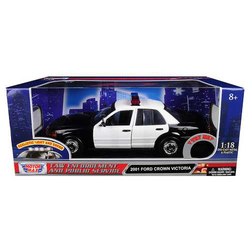 2001 Ford Crown Victoria Police Car Plain White with Flashing Light Bar, Front and Rear Lights and Sounds 1/18 Diecast Model Car by Motormax