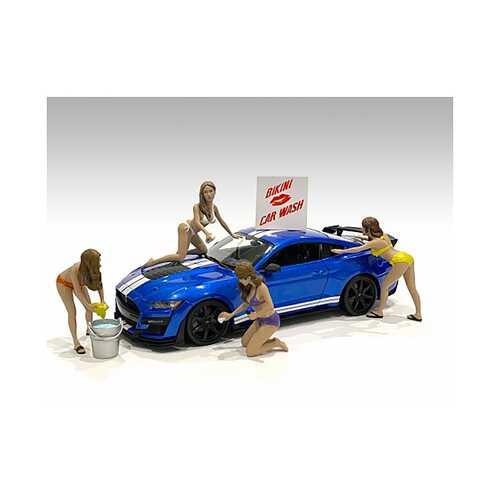 """Bikini Car Wash Girls"" 4 piece Figurine Set for 1/18 Scale Models by American Diorama"