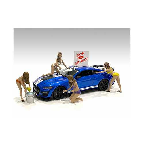"""Bikini Car Wash Girls"" 4 piece Figurine Set for 1/24 Scale Models by American Diorama"