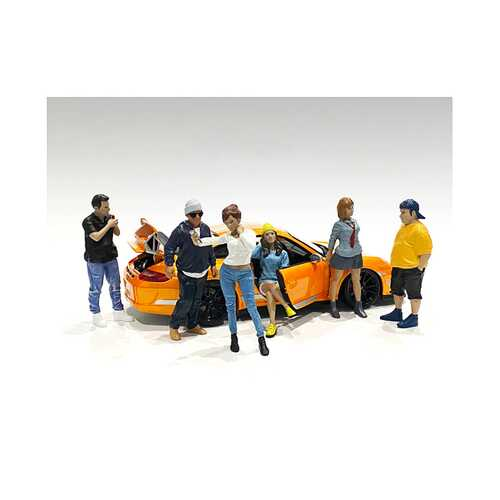 """""""Car Meet 1"""" 6 piece Figurine Set for 1/24 Scale Models by American Diorama"""