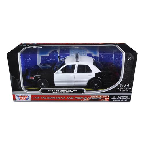 2010 Ford Crown Victoria Unmarked Police Car Black & White 1/24 Diecast Car Model by Motormax