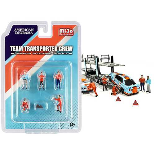 """""""Team Transporter Crew"""" Diecast Set of 6 pieces (5 Figurines and 2 Warning Triangles) for 1/64 Scale Models by American Diorama"""