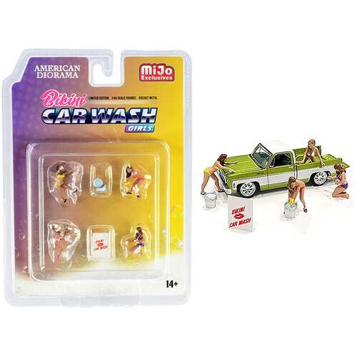 """Bikini Car Wash Girls"" Diecast Set of 7 pieces (4 Figurines and 3 Accessories) for 1/64 Scale Models by American Diorama"