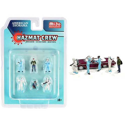 """Hazmat Crew"" 6 piece Diecast Figurine Set for 1/64 Scale Models by American Diorama"