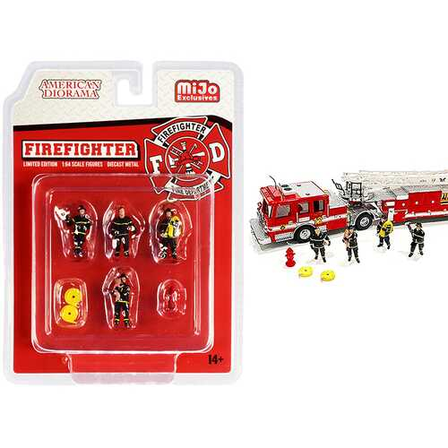 """Firefighter"" 7 piece Diecast Set (4 Figurines and 3 Accessories) for 1/64 Scale Models by American Diorama"