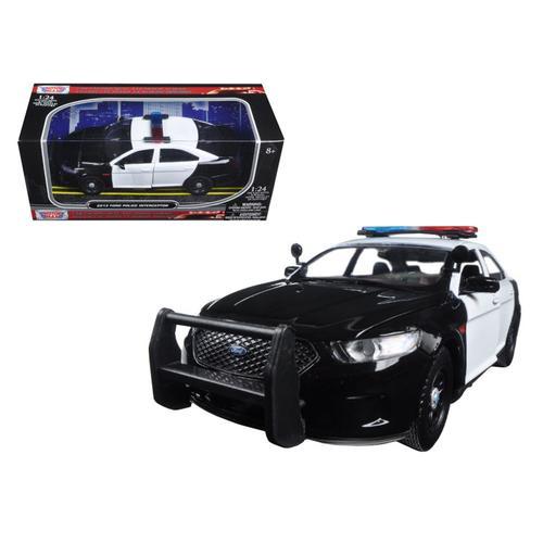 2013 Ford Police Car Interceptor Unmarked Black/White 1/24 Diecast Model Car by Motormax