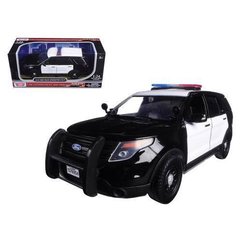 2015 Ford Interceptor Unmarked Police Car Black/White 1/24 Diecast Model Car by Motormax