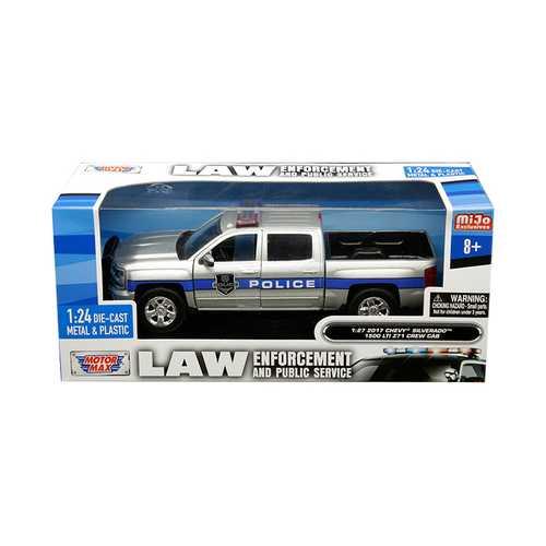 "2017 Chevrolet Silverado 1500 LT Z71 Crew Cab Police Silver ""Law Enforcement and Public Service"" Series 1/24 Diecast Model Car by Motormax"