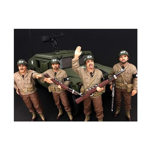 WWII Military Police 4 Piece Figure Set For 1:18 Scale Models by American Diorama