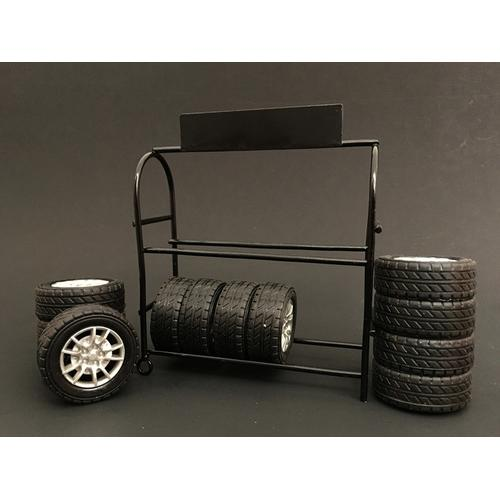 Metal Tire Rack with Rims and Tires for 1/24 Scale Models by American Diorama
