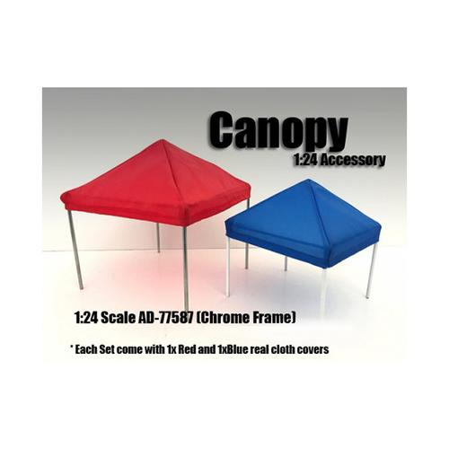 Canopy Accessory Set Blue and Red with 1 Chrome Frame for 1/24 Scale Models by American Diorama