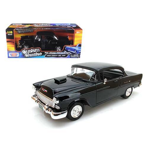 1955 Chevrolet Bel Air Hard Top Black Custom 1/18 Diecast Model Car by Motormax