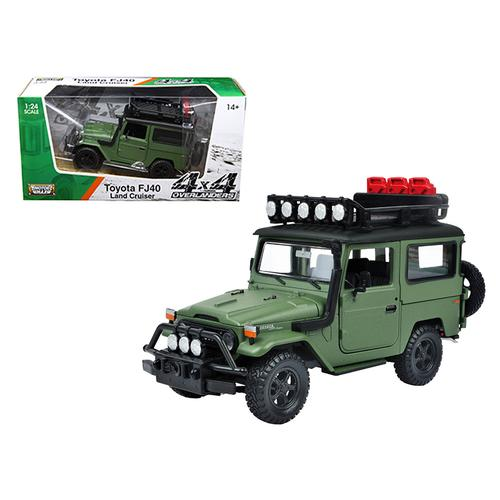 "Toyota FJ40 Land Cruiser Matt Green ""4x4 Overlanders"" Series 1/24 Diecast Model Car by Motormax"