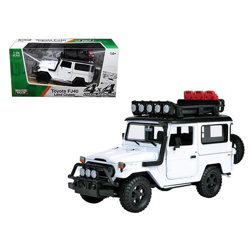 "Toyota FJ40 Land Cruiser White ""4x4 Overlanders"" Series 1/24 Diecast Model Car by Motormax"