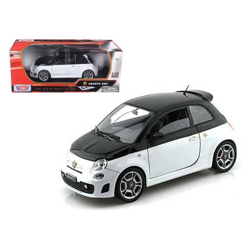 Fiat Abarth 500 White and Black 1/18 Diecast Model Car by Motormax