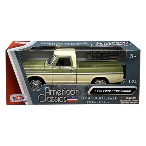 1969 Ford F-100 Pickup Truck Green and Cream 1/24 Diecast Model Car by Motormax