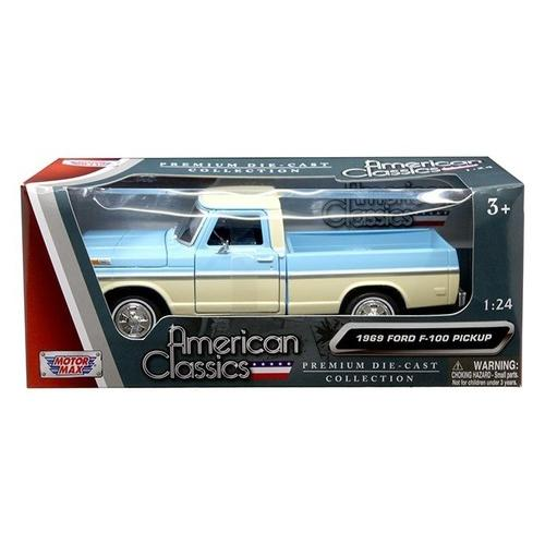 1969 Ford F-100 Pickup Truck Light Blue and Cream 1/24 Diecast Model Car by Motormax