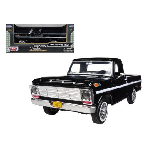 1969 Ford F-100 Pickup Truck Black 1/24 Diecast Model by Motormax