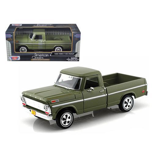 1969 Ford F-100 Pickup Truck Green 1/24 Diecast Car Model by Motormax