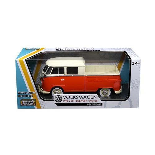 Volkswagen Type 2 (T1) Double Cab Pickup Truck Orange/Cream 1/24 Diecast Model Car by Motormax