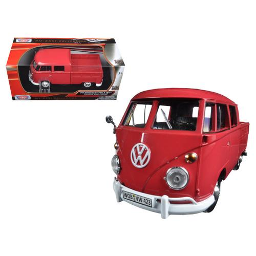 Volkswagen Type 2 (T1) Double Cab Pickup Truck Wax Red 1/24 Diecast Model Car by Motormax