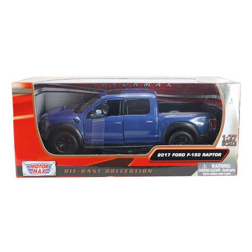 2017 Ford F-150 Raptor Pickup Truck Blue with Black Wheels 1/27 Diecast Model Car by Motormax