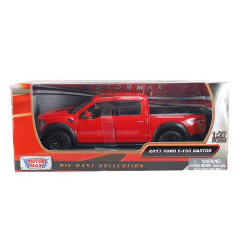 2017 Ford F-150 Raptor Pickup Truck Red with Black Wheels 1/27 Diecast Model Car by Motormax