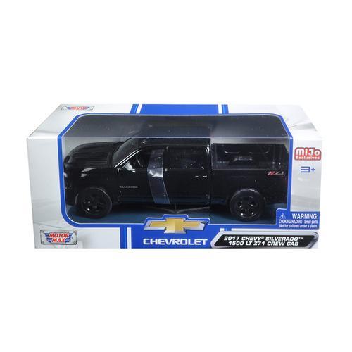 2017 Chevrolet Silverado 1500 LT Z71 Crew Cab Black 1/24 Diecast Model Car by Motormax