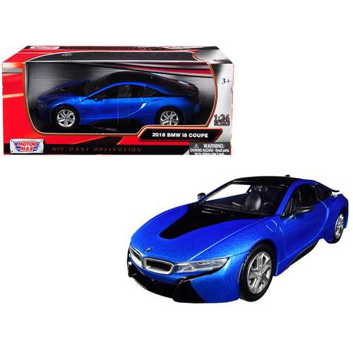 2018 BMW i8 Coupe Metallic Blue with Black Top 1/24 Diecast Model Car by Motormax