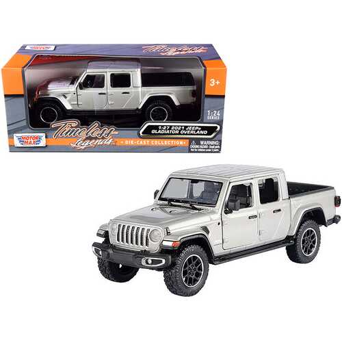 2021 Jeep Gladiator Overland (Closed Top) Pickup Truck Silver Metallic 1/24-1/27 Diecast Model Car by Motormax