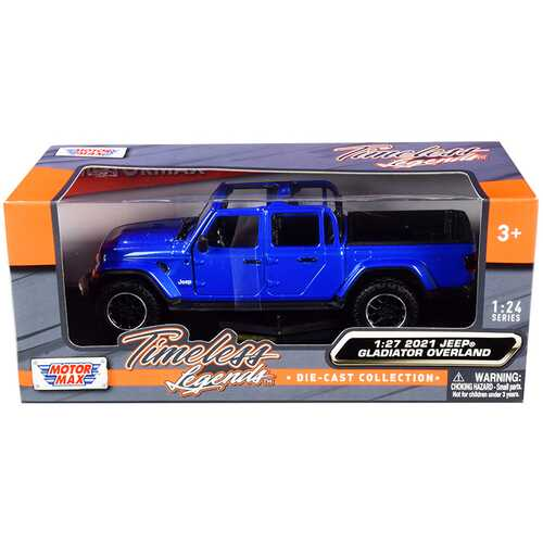 2021 Jeep Gladiator Overland (Open Top) Pickup Truck Blue Metallic 1/24-1/27 Diecast Model Car by Motormax