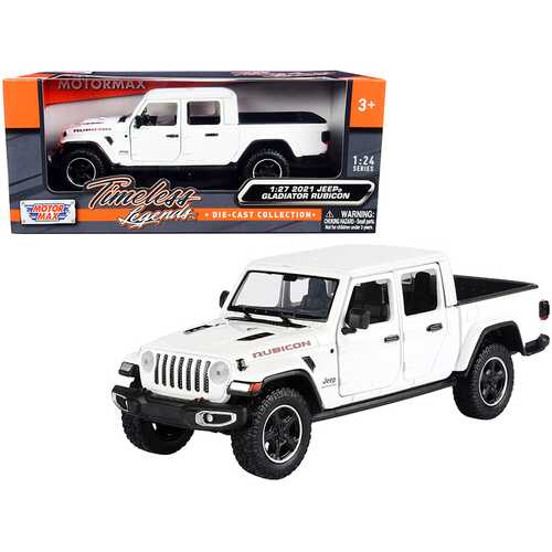2021 Jeep Gladiator Rubicon (Closed Top) Pickup Truck White 1/24-1/27 Diecast Model Car by Motormax