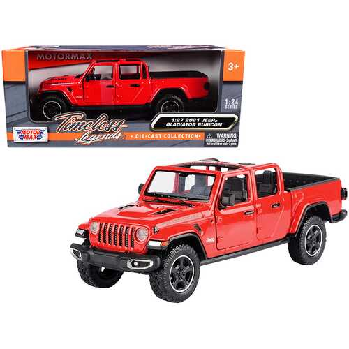 2021 Jeep Gladiator Rubicon (Open Top) Pickup Truck Red 1/24-1/27 Diecast Model Car by Motormax