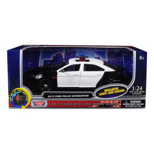 2013 Ford Police Interceptor with Flashing Lights and Two Sounds Black and White 1/24 Diecast Model Car  by Motormax