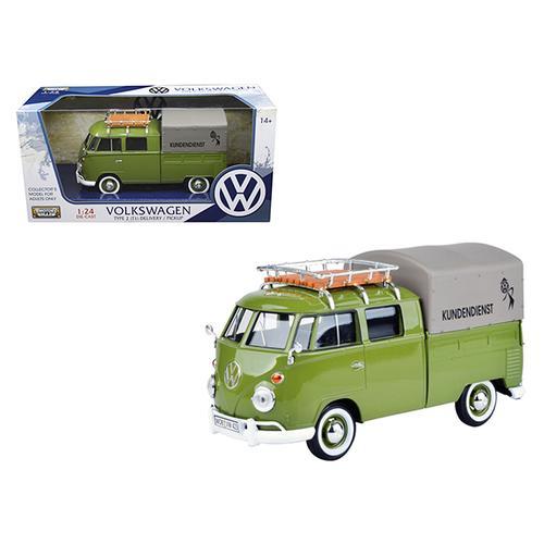 """Volkswagen Type 2 (T1) """"Kundendienst"""" Delivery Pickup Truck Green 1/24 Diecast Model Car by Motormax"""